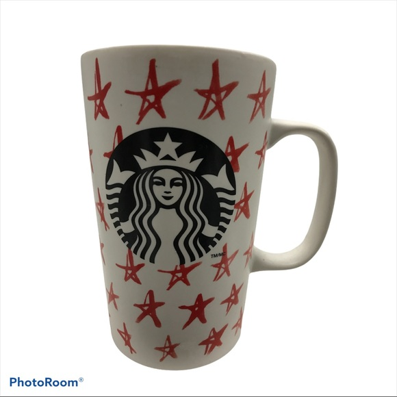Starbucks Coffee Mug Tea Cup Red Stars Black Siren